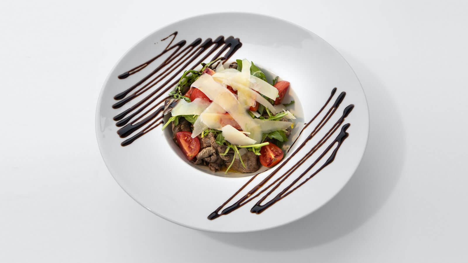 Straccetti con Rucola e Scaglie di Parmigiano